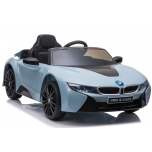 Electric car BMW I8 (blue) - with soft wheels and leather seat