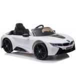 Sähköauto BMW I8 (valkoinen) - pehmeillä pyörillä ja nahkaistuimella