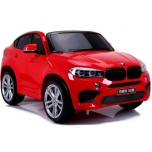 Electric car BMW X6M (red) - with soft wheels and leather seat - For two children, a powerful engine!
