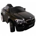 Elektromobilis BMW X6M (juoda) - su minkštais ratais ir odine sėdyne