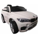 Sähköauto BMW X6M (valkoinen) - pehmeillä pyörillä ja nahkaistuimella
