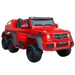 Mercedes 6x45W (raudona) 6X6, LCD, minkšti ratai, oda
