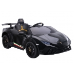 Electric car Lamborghini Huracan 4x4 (black) - with soft wheels and leather seat