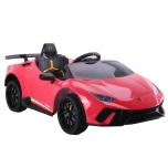 Electric car Lamborghini Huracan 4x4 (red) - with soft wheels and leather seat
