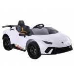 Electric car Lamborghini Huracan 4x4 (white) - with soft wheels and leather seat