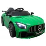 Sähköauto Mercedes GTR-S (vihreä) - nahka, pehmeät pyörät