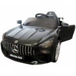 Sähköauto Mercedes GTR (musta) - nahka, pehmeät pyörät