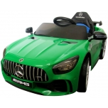"Elektromobilis ""Mercedes GTR"" (žalias) - oda, minkšti ratai"