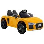 Sähköauto Audi R8 Spyder (keltainen) - pehmeillä pyörillä ja nahkaistuimella