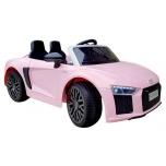 """Elektromobilis """"Audi R8 Spyder"""" (rožinis) - su minkštais ratais ir odine sėdyne"""