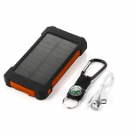 Baterijų bankas su 8000 mAh saulės baterijų skydeliu ir LED žibintuvėliu (oranžinis)