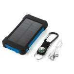 Powerbank 8000 mAh with solar panel and LED flashlight (blue)