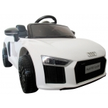 Electric Audi R8 Spyder (White) - with soft wheels and leather seat