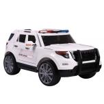 """Elektromobilis JEEP """"POLICE"""" (balts) - mīksti riteņi, mīksts sēdeklis"""