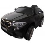 Elektriauto BMW X6M (Must) - pehmete rataste ja nahkistmega